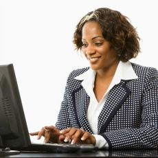 female at computer