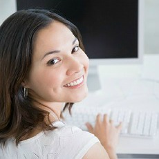 female student on computer