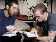 male students studying
