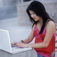 student on laptop